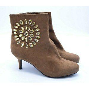 Joan Boyce Camel Brown Kitten Heel Ankle Boot 10